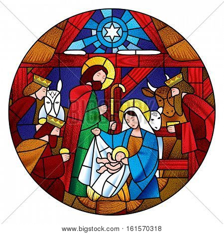 Circle shape with the Christmas and Adoration of the Magic scene in stained glass style. Vector illustration