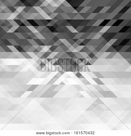 Grayscale triangles abstract geometric background. Gray polygon pattern. Can be used as a webpage background banner poster. Vector. Made using clipping mask