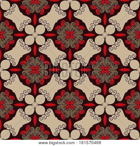 Elegant seamless pattern in red brown and beige colors. Intricate flourish web design texture. Vector webpage background. Made using clipping mask