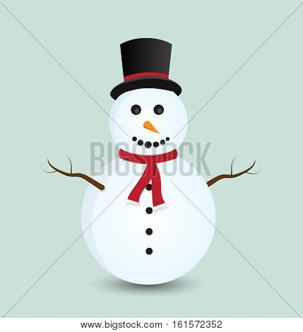Snowman isolated on blue background. Vector illustration.