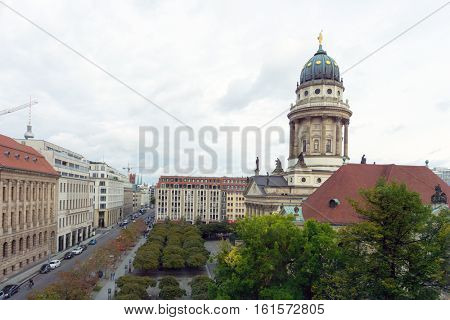 BERLIN, GERMANY- October 7, 2016: The Gendarmenmarkt is a square in Berlin, and the site of the Konzerthaus and the French and German Cathedrals. October 7, 2016 in Berlin