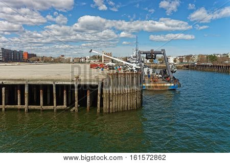 Boston, USA - April 28, 2015: Ferry at Harbor at Boston Wharf in Charles River in Boston Massachusetts the United States.