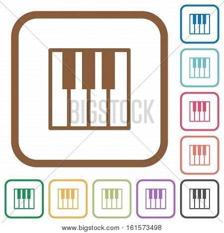 Piano keyboard simple icons in color rounded square frames on white background
