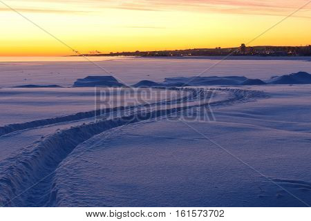 Frosty winter morning in the Northern region. Karelia, Russia
