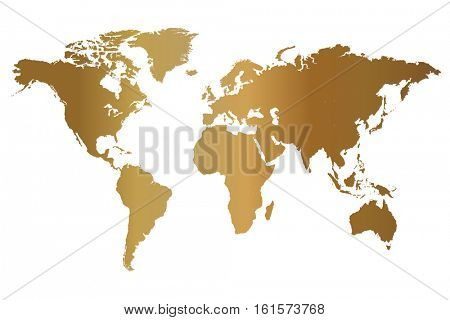 Gold world map illustration isolated on a white background