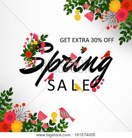Spring Sale Banner, Sale Poster. Vector illustration