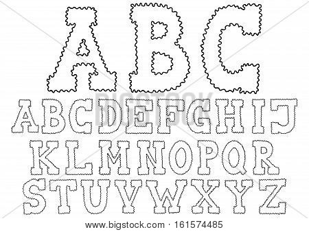 Waved Hand Drawn Alphabet Doodle Typeface Vector