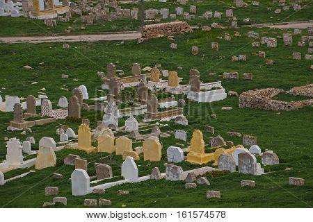 Muslim cemetery graves. Rabat, Morocco North Africa