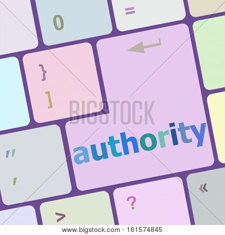 authority button on computer keyboard key, business concept