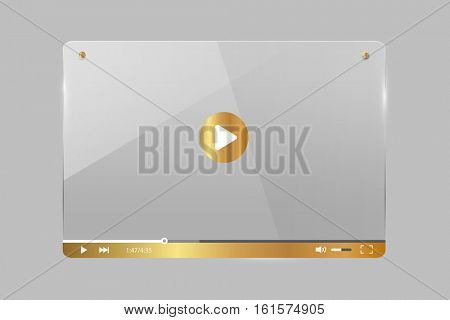 Gold and glass video player illustration on a grey background
