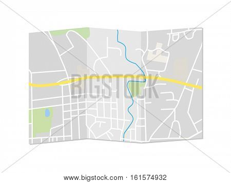 City map illustration on a white background