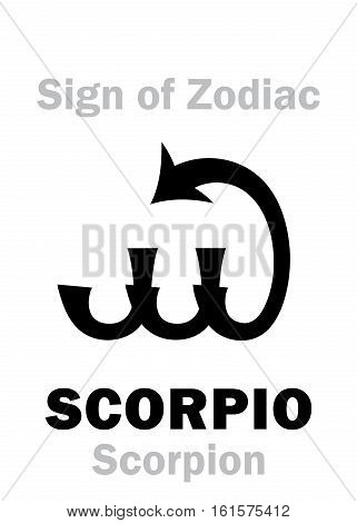 Astrology Alphabet: Sign of Zodiac SCORPIO (The Scorpion). Hieroglyphics character sign (single symbol).