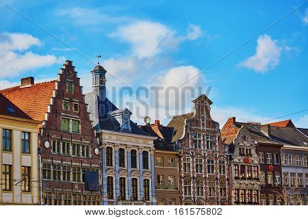 Scenic View Of Colorful Buildings In Gent