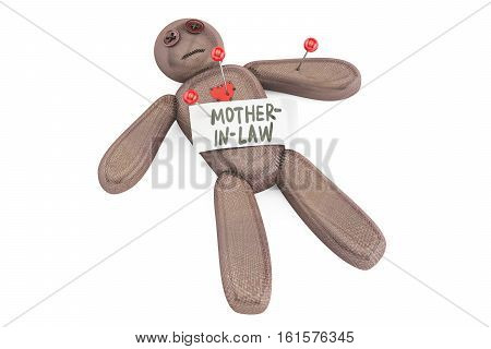 mother-in-law voodoo doll with needles 3D rendering isolated on white background