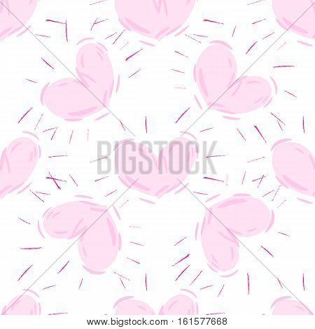 valentine seamless hand drawn hearts pattern. Vector repeating texture.