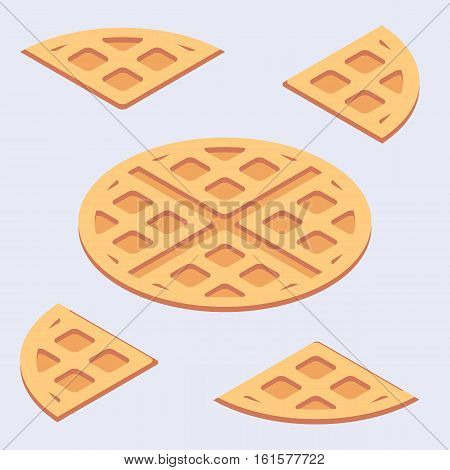 Isometric minimalistic illustration of sweet belgian waffles solid and cutted.