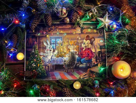 Christmas Illustration with cartoon characters from illustration in a themed environment.