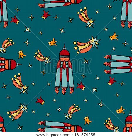 Vector Space starship stars comets and crown seamless pattern blue background