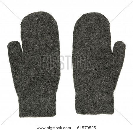 Mittens Isolated On White Background. Knitted Mittens. Mittens Top View.grey Mittens .