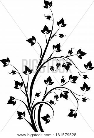 Blossom Floral Branch In Stencil Style. Can Be  Used As Stencil-plate For Your Color Paint Or Other