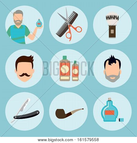 Set of vintage barber shop elements logo, labels, badges and design element icon in flat. Barber items premium quality. Vector
