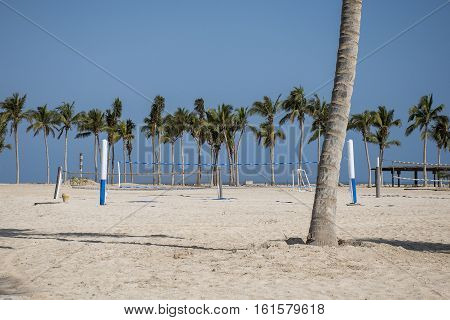 Volley ball between palms at tropical beach oman salalah souly bay