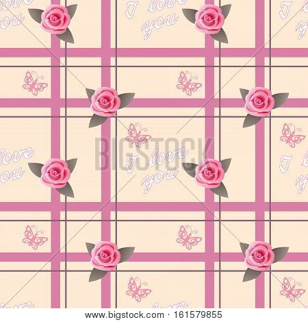 Seamless romantic pattern with roses and text I love you for decorate and packing presents of Valentine Day wedding romantic holidays. eps 10.
