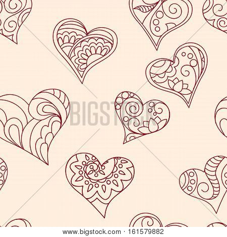 Seamless hand drawn pattern with ornamental hearts for decorate and packing presents of Valentine Day wedding romantic holidays. eps 10.