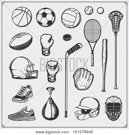 Set of Sport equipment. Soccer, football, lacrosse, basketball, baseball, hockey and tennis.