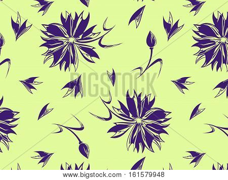 Seamless pattern with cornflowers buds and leaves on the yellow background