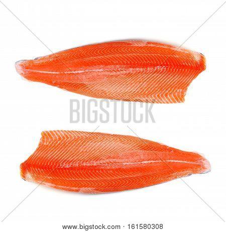 Fresh Salmon Fillet Isolated On White Backgrund