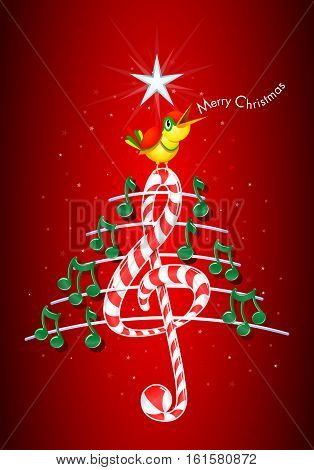 Christmas tree made of green musical notes, candy bar shaped treble clef and pentagram with yellow bird singing and title: MERRY CHRISTMAS on red background with stars  - Vector image