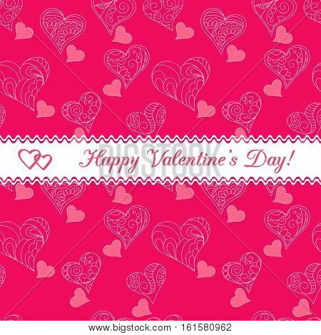 Festive greeting Valentine`s Day card with text Happy Valentine`s Day and two hearts on the vintage ribbon and pink background with ornamental hearts. eps 10.