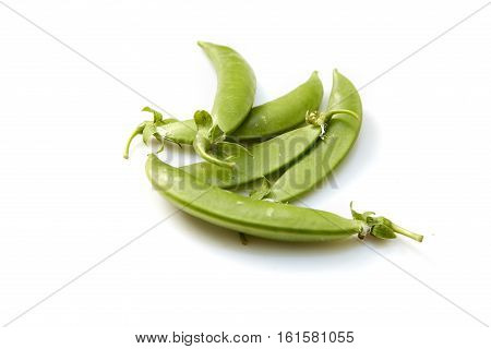 Snow peas isolated over white background, white, chinese, snack, pile