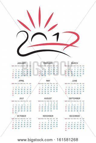 Calendar 2017. Symbolic graphic representation of the number in 2017. Vector calendar. EPS10