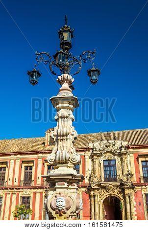Fountain on the Plaza de la Virgen de los Reyes in Seville - Spain, Andalusia