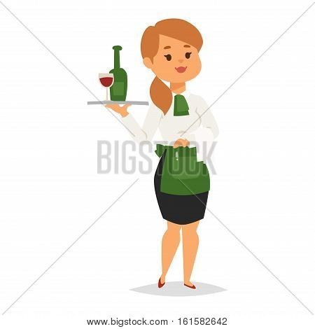 Waitress carrying tray with wine bottle. Waitress in uniform isolated on white background. Vector illustration waiter with wine glass professional occupation job.