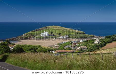 Burgh Island at low tide on a clear day. Devon. England