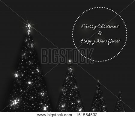 Vector Christmas and New Year background with shining Christmas tree in dark black and grey colors. Fir-tree created from lights and stars.