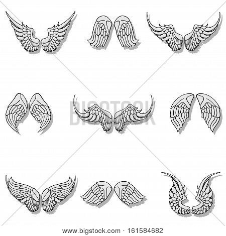 Illustration set wings on a white background.