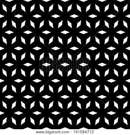 Vector seamless pattern, simple geometric ornament, monochrome repeat black & white texture. Lattice mosaic background. Design for prints, decoration, digital, cover, textile, fabric, furniture, web