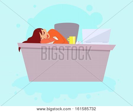 Tired business woman sleeping on the work. Vector illustration