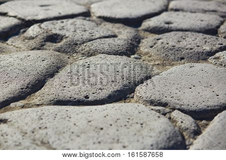 Ancient Pavement In Pompeii, Italy