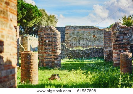 Ancient Ruins In Pompeii, In Southern Italy