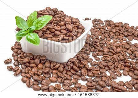 Closeup of coffee beans isolated on a white background cutout