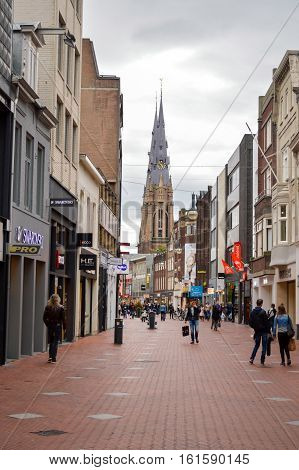 Eindhoven, The Netherlands - 15.09.2015: City Center Walking Area View