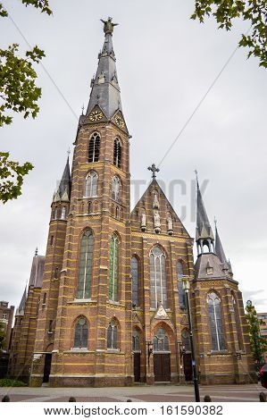 Eindhoven, The Netherlands - 15.09.2015: The Sacred Heart Church Full View
