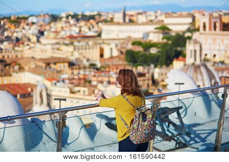 Tourist Girl Enjoying Aerial View Of Rome, Lazio, Italy