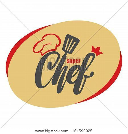 Chef logo. Lettering Hand lettering with a cap chef. Symbol icon logo design