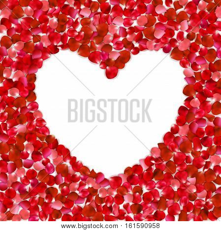 Heart Shape Of Red Petals On White Background, Vector Illustration. Valentine's Day With Beautiful R